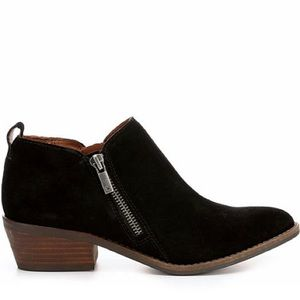 Lucky brand black suede ankle boots